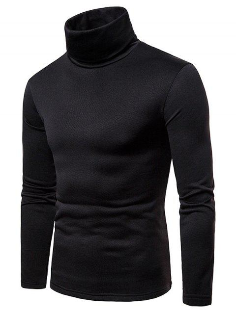 Turtle Neck Whole Colored Tee Shirt - BLACK L