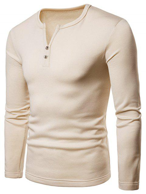 Button Embellished V Neck Tee Shirt - BEIGE M