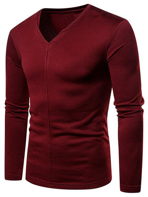Casual V Neck Solid-colored T-shirt - RED WINE XL