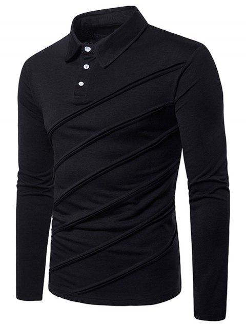 Long Sleeve Spliced Fold Design T Shirt - BLACK L