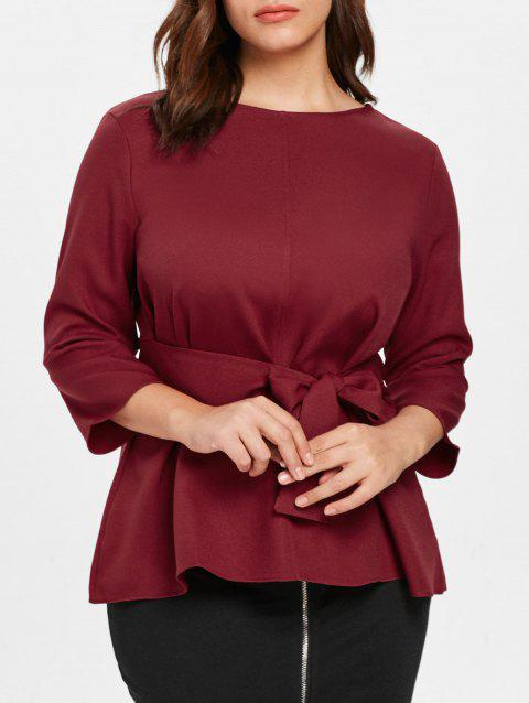 Plus Size Self Tie Blouse - RED WINE 3X