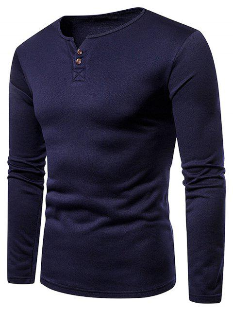 Solid Color Henry V Neck Fleece Tee - CADETBLUE 2XL