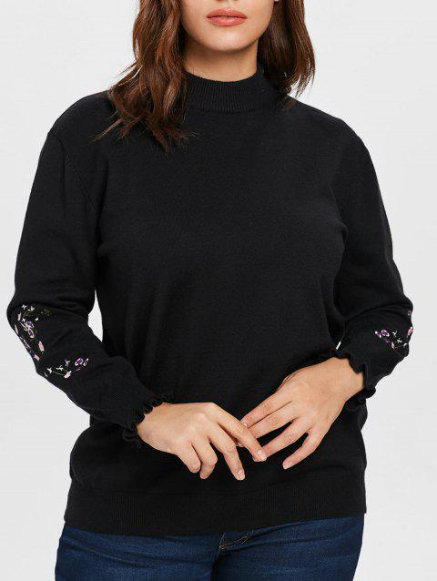 Plus Size Embroidered Sleeve Sweater - BLACK L