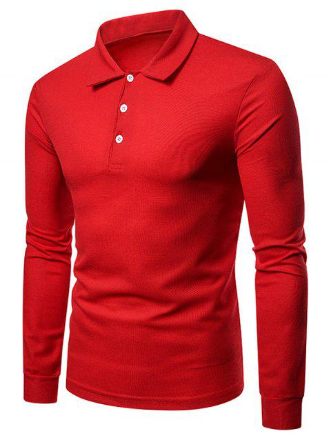 T-shirt en Couleur Unie - Rouge 2XL