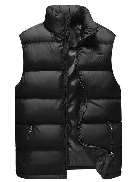 Sleeveless Cotton-Padded Zip Up Vest - BLACK L