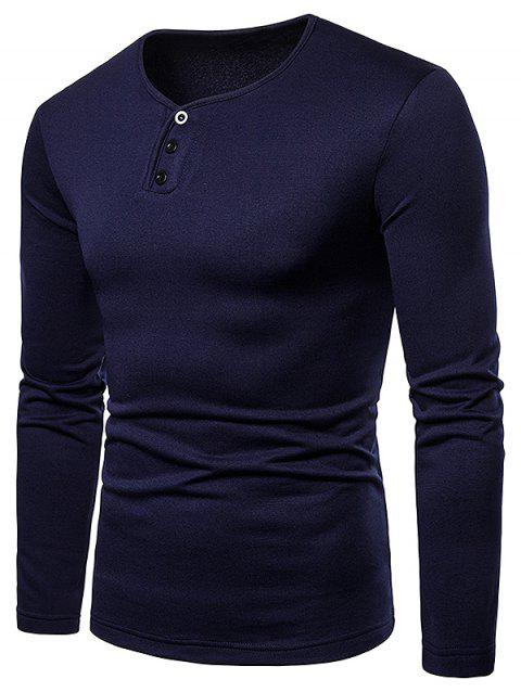 Henry Neck Solid Color Tee Shirt - CADETBLUE M