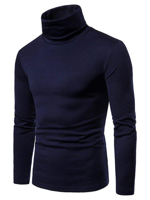 Turtle Neck Whole Colored Tee Shirt - CADETBLUE XL