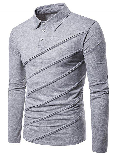 Long Sleeve Spliced Fold Design T Shirt - LIGHT GRAY M