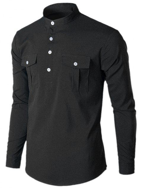 Stand Collar Casual Pockets Shirt - BLACK L