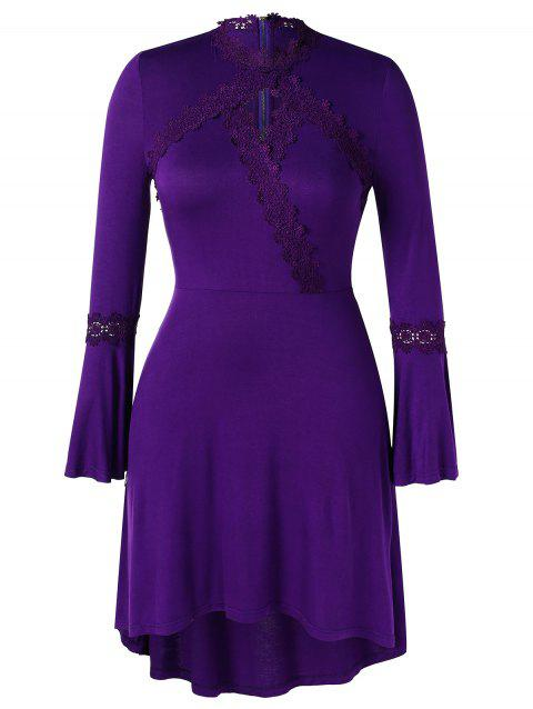 Plus Size Lace Spliced Bell Sleeves High Low Dress - PURPLE 3X