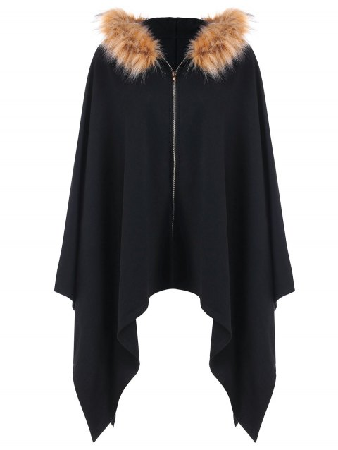 Asymmetric Fluffy Hooded Zipper Fly Cape - BLACK 2XL