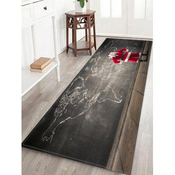 Santa Claus and World Map Printed Christmas Area Mat - CLOUDY GRAY W16 X L47 INCH