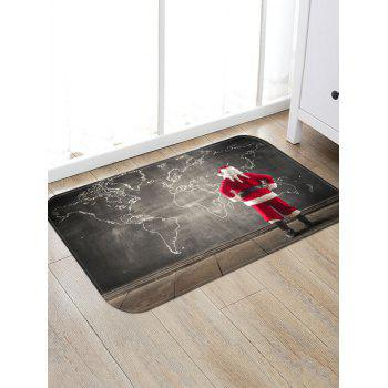 Santa Claus and World Map Printed Christmas Area Mat - CLOUDY GRAY W16 X L24 INCH