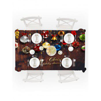 Christmas Hanging Balls Print Waterproof Tablecloth - multicolor W60 X L84 INCH