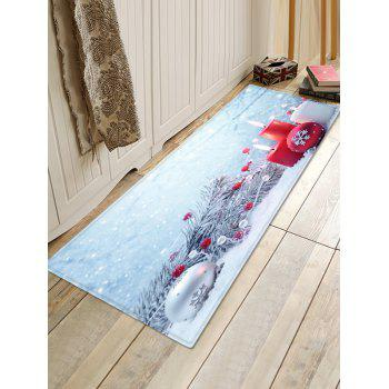 Christmas Tree Branches Candles and Balls Printed Floor Mat - SEA BLUE W24 X L71 INCH