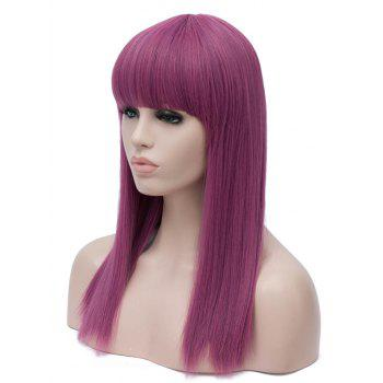 Full Bang Long Straight Cosplay Anime Synthetic Wig - PLUM