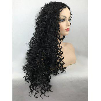 Center Parting Synthetic Long Curly Wig - BLACK