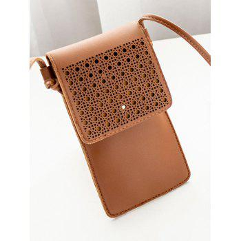 Mini Hollow Out Crossbody Bag - BROWN
