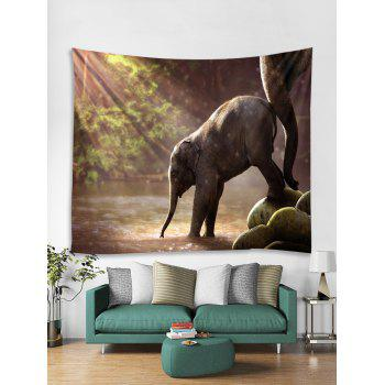 Sunlight Elephant Print Tapestry Wall Art - multicolor W59 X L59 INCH
