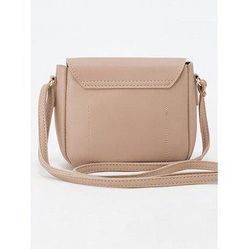 Buckle Solid Color Crossbody Bag - LIGHT KHAKI