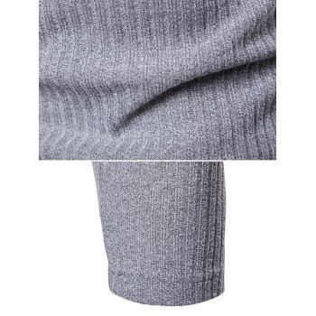 V Neck Solid Color Long Sleeve Knitwear - LIGHT GRAY 2XL