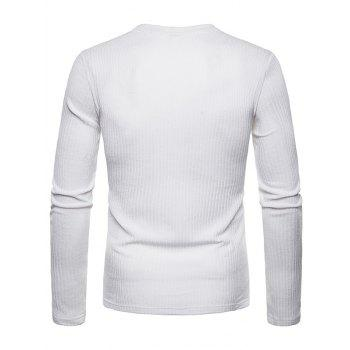 V Neck Solid Color Long Sleeve Knitwear - WHITE M