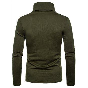 Turtle Neck Whole Colored Tee Shirt - ARMY GREEN XL