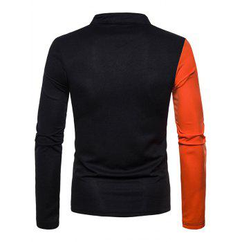Contract Color Stand Collar T-shirt - BLACK M