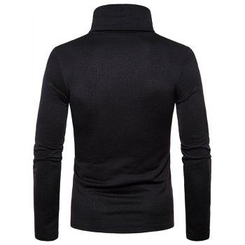Turtle Neck Whole Colored Tee Shirt - BLACK XL