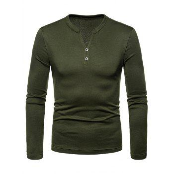 Button Embellished V Neck Tee Shirt - ARMY GREEN 2XL