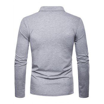 Long Sleeve Spliced Fold Design Polo Shirt - LIGHT GRAY L