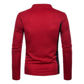 Zip Embellish Color Spliced Stand Collar T-shirt - RED WINE XL