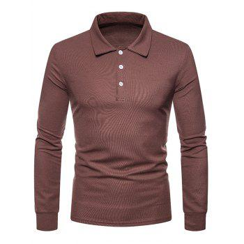 Whole Colored Polo Collar T-shirt - BROWN 2XL