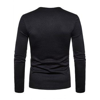 Henry Neck Solid Color Tee Shirt - BLACK M
