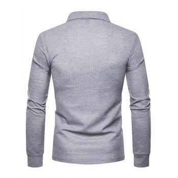 Whole Colored Polo Collar T-shirt - LIGHT GRAY M