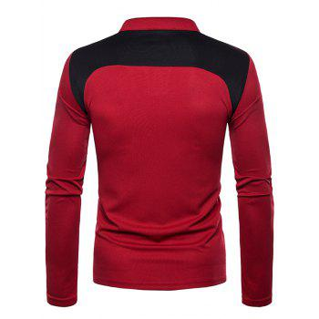 Splicing Color Blocking Tee Shirt - RED M
