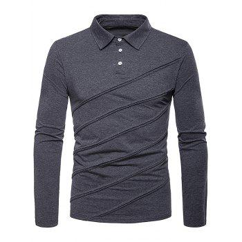 Long Sleeve Spliced Fold Design Polo Shirt - DARK GRAY M