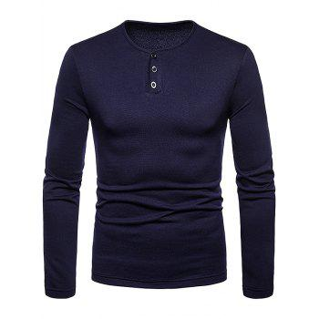 Henry Neck Solid Color Tee Shirt - CADETBLUE XL