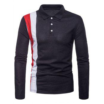 Patchwork Long Sleeve Polo Shirt - BLACK M