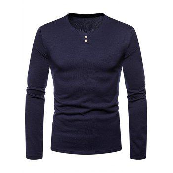 Henry Neck Button Embellished Fleece T-shirt - CADETBLUE L