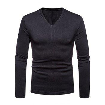 Casual V Neck Solid-colored T-shirt - BLACK XL