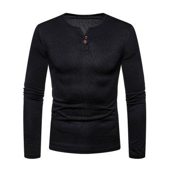 Solid Color Henry V Neck Fleece Tee - BLACK 2XL