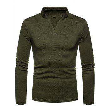 Long Sleeves V Neck Solid Color Fleece T-shirt - ARMY GREEN M
