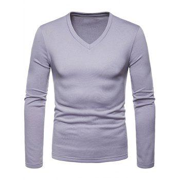 Solid Color V Neck Fleece Warm T-shirt - LIGHT GRAY M