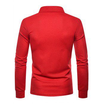 Whole Colored Polo Collar T-shirt - RED 2XL
