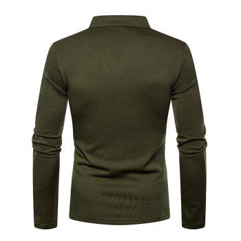 Long Sleeves V Neck Solid Color Fleece T-shirt - ARMY GREEN L