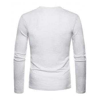 Slim Fit V Neck Long Sleeve T-shirt - WHITE M