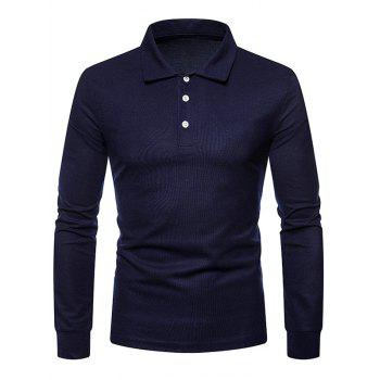 Whole Colored Polo Collar T-shirt - CADETBLUE M