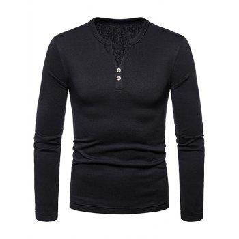 Button Embellished V Neck Tee Shirt - BLACK M