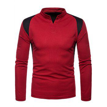 Splicing Color Blocking Tee Shirt - RED 2XL